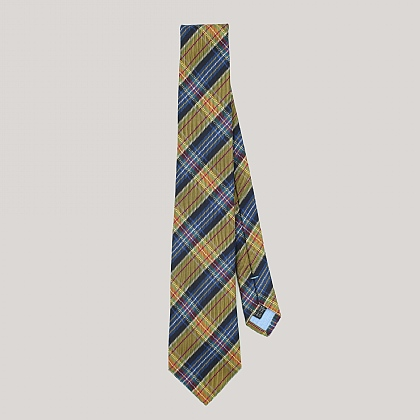 Gold and Navy Tartan Woven Silk Tie