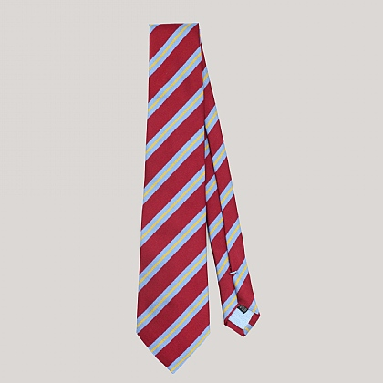Burgundy Multi Stripe Woven Silk Tie