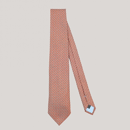 Orange Houndstooth Woven Silk Tie