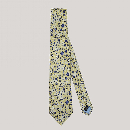 Yellow and Navy Floral Woven Silk Tie