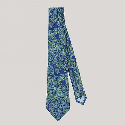 Blue Large Paisley Woven Silk Tie