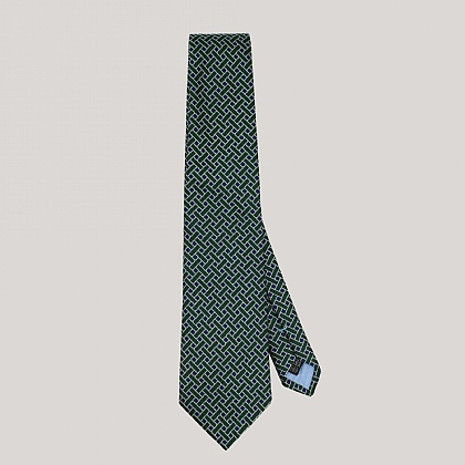 Green and Blue and Basket Woven Silk Tie