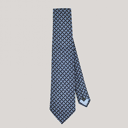 Navy and Blue Basket Woven Silk Tie