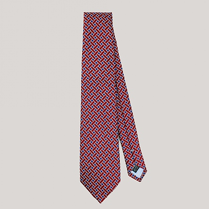 Red and Blue Basket Woven Silk Tie