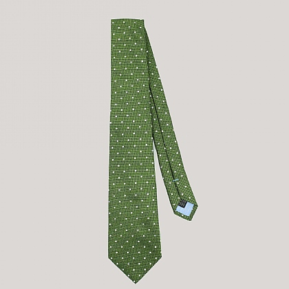 Olive with White Spot Woven Silk Tie