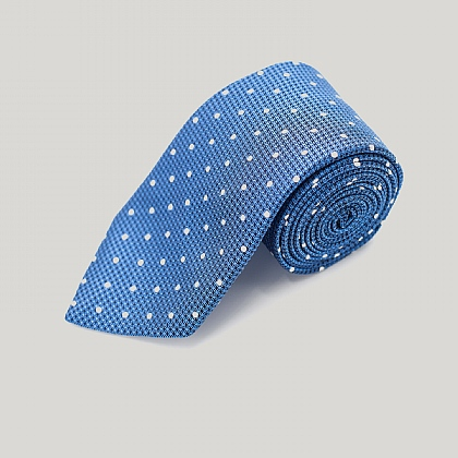 Petrol Blue with White Spot Woven Silk Tie