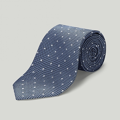 Sky with White Spot Woven Silk Tie