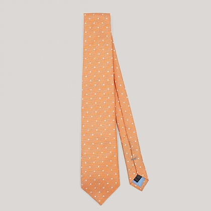Orange with White Spot Woven Silk Tie