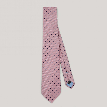 Pink with Navy Spot Woven Silk Tie