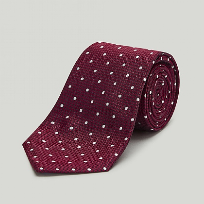 Red with White Spot Woven Silk Tie