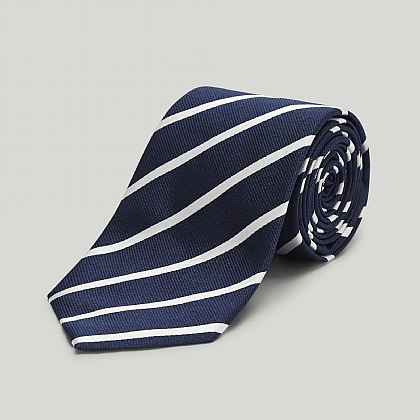 Navy with White Stripe Woven Silk Tie