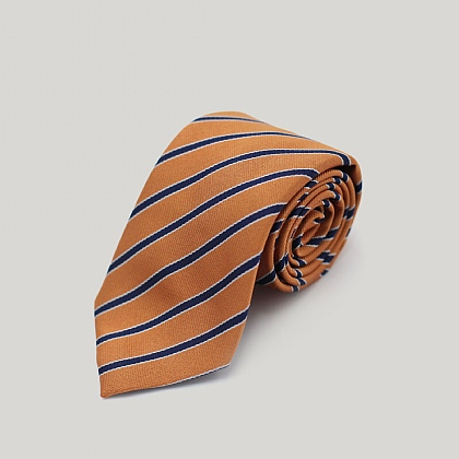 Orange with Navy Stripe Woven Silk Tie