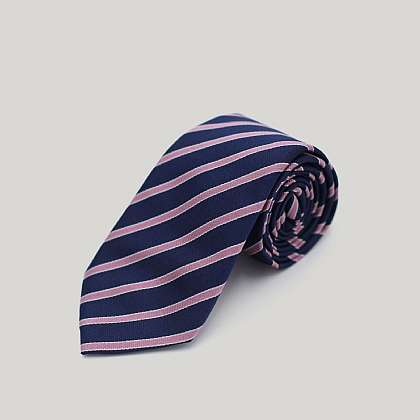 Navy with Pink Stripe Woven Silk Tie