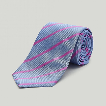 Sky with Pink Stripe Woven Silk Tie