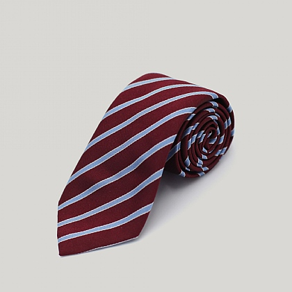 Wine and Sky Stripe Woven Silk Tie