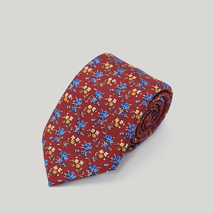 Red and Blue Roses Printed Silk Tie