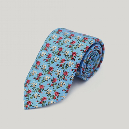 Sky and Red Roses Printed Silk Tie