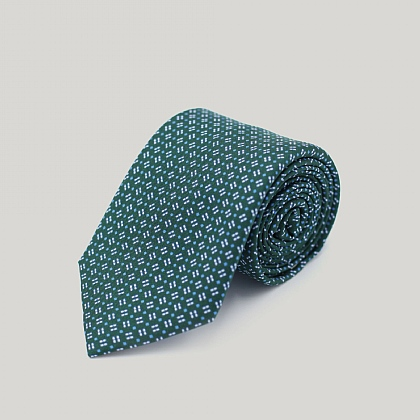 Green Neat Squares Printed Silk Tie