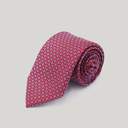 Red Neat Squares Printed Silk Tie