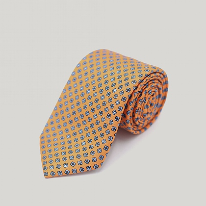Orange Clover Leaf Printed Silk Tie