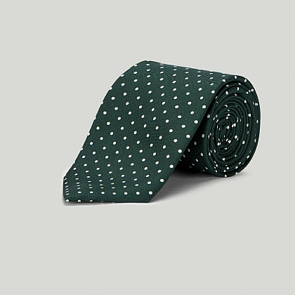 Racing Green with White Spot Printed Silk Tie