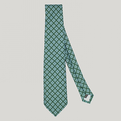 Green and Sky Mosaic Printed Silk Tie