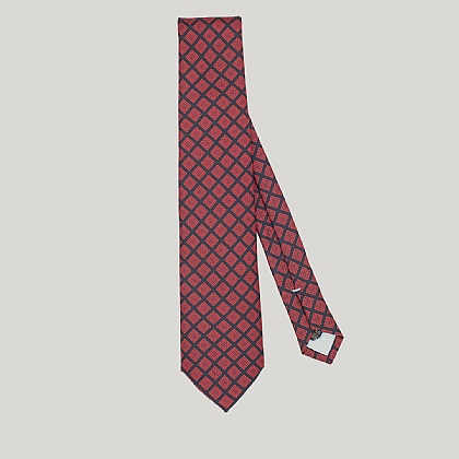 Navy and Red Mosaic Printed Silk Tie