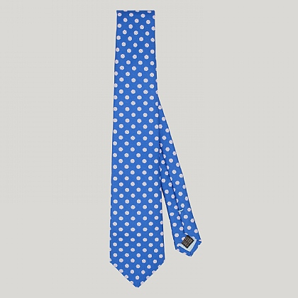 Blue Houndstooth Spot Printed Silk Tie