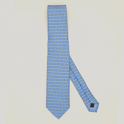 Sky and Yellow Diamonds Printed Silk Tie