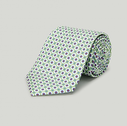 Green Mosaic Printed Silk Tie