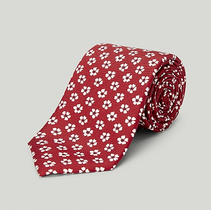 Red Pansy Printed Silk Tie