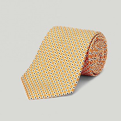 Orange Daisy Printed Silk Tie