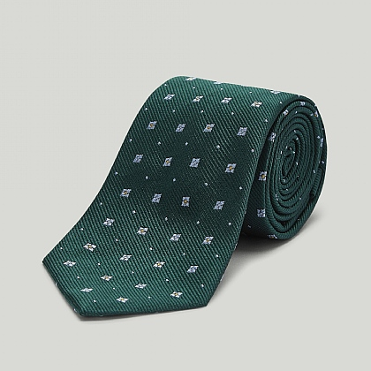 Green with Sky Boxes Woven Silk Tie