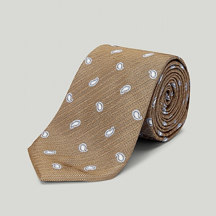 Brown Spring Paisley Woven Silk Tie