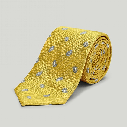 Yellow Spring Paisley Woven Silk Tie