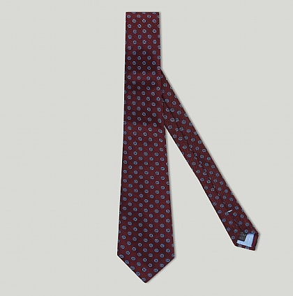 Burgundy Boxed Flower Woven Silk Tie