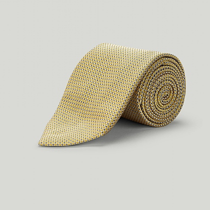 Yellow Small Lattice Woven Silk Tie