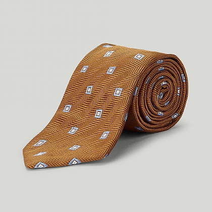 Tan Brown Box in Box Woven Silk Tie