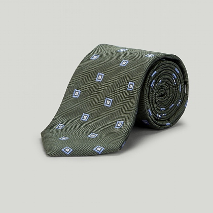 Green Box in Box Woven Silk Tie