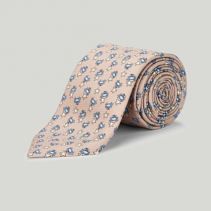 Beige Brown Crab and Starfish Printed Silk TIe