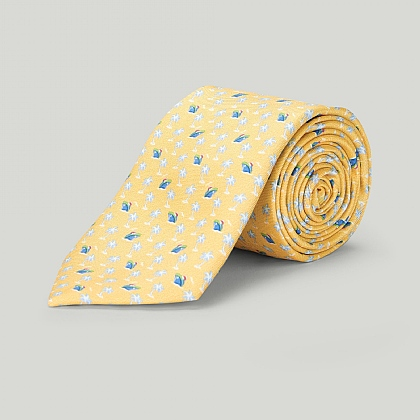 Yellow Ship and Palm Tree Printed Silk Tie