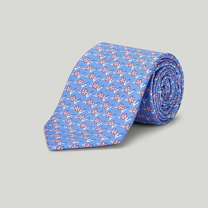 Blue Cocktail Glass Printed Silk Tie