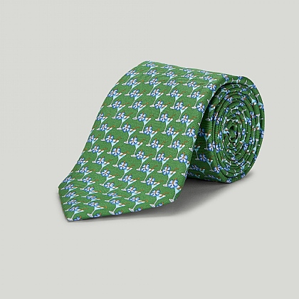 Green Cocktail Glass Printed Silk Tie
