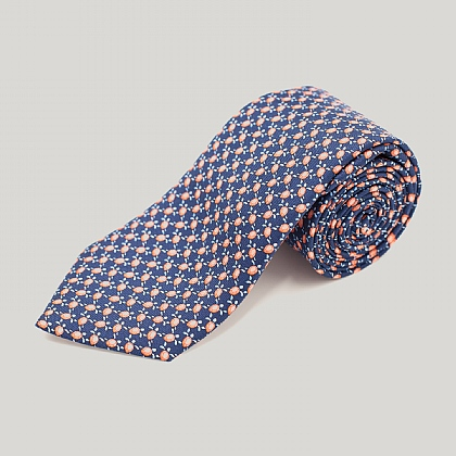 Navy Turtles Printed Silk Tie