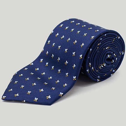 Navy Summer Bee Printed Silk Tie