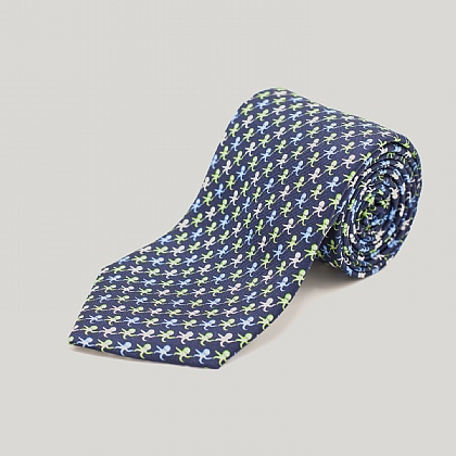 Navy and Green Octopus Printed Silk Tie