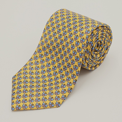 Yellow Butterfly Printed Silk Tie