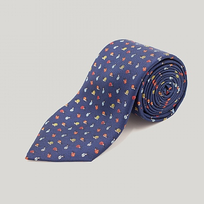 Navy Snails Printed Silk Tie