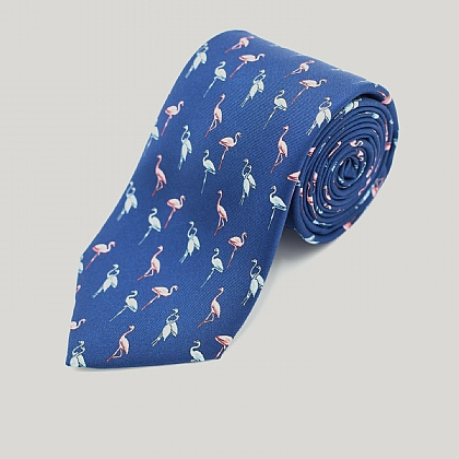Navy Flamingo Printed Silk Tie