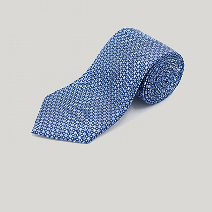 Blue Small Flower Printed Silk Tie